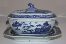 Chinese Export 18th/19th Century Taureen Blue and White