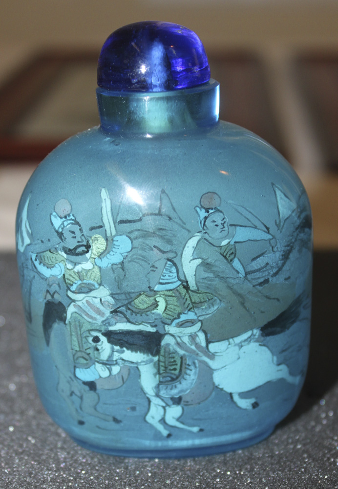 Antique / Vintage Chinese Blue Tinted Peking Glass Snuff Bottle