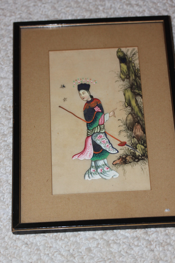 Antique Chinese Framed Pastel on Rice Paper