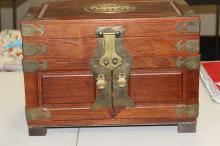 Vintage Chinese Rosewood Jewelry Table Chest