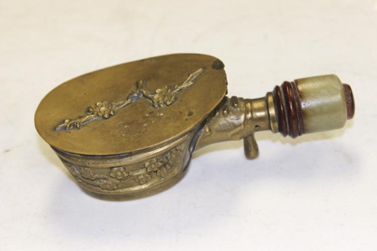 19th / 20th Century Chinese Brass Iron w/ Jade Handle