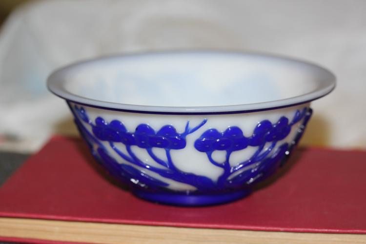 Antique Chinese Blue and White Peking Glass Bowl