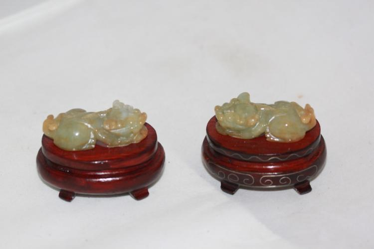 Pair of Antique Chinese Jadeite Foo Lions on Wood Stands