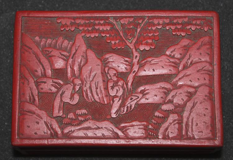 Antique Chinese 19th / 20th Century Cinnabar Lacquer Box