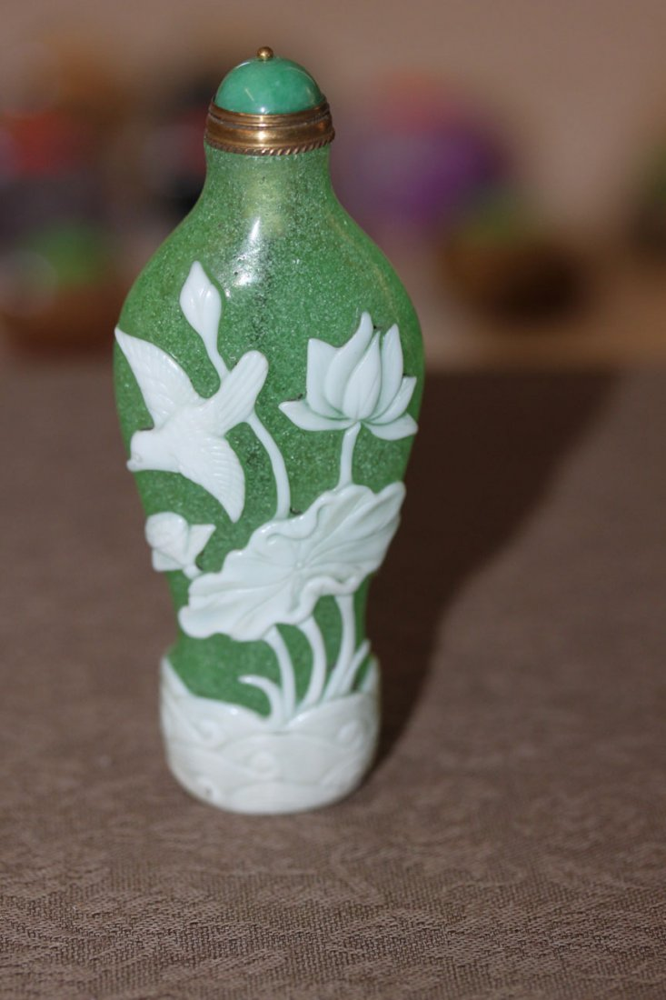 Chinese Green and White Peking Glass Snuff Bottle