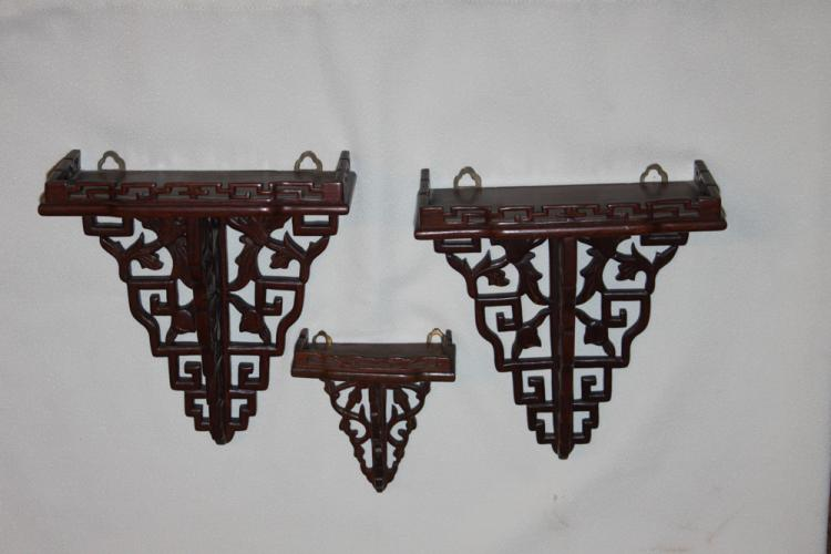 Set of 3 Chinese Rosewood Wall Brackets