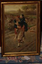Antique 19th Century Oil on Canvas Painting
