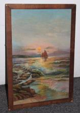 Challe Signed Oil on Board Seascape Early 20th Century