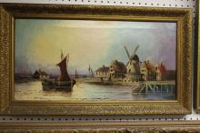 Antique Oil on Canvas Dutch Painting 19th Century