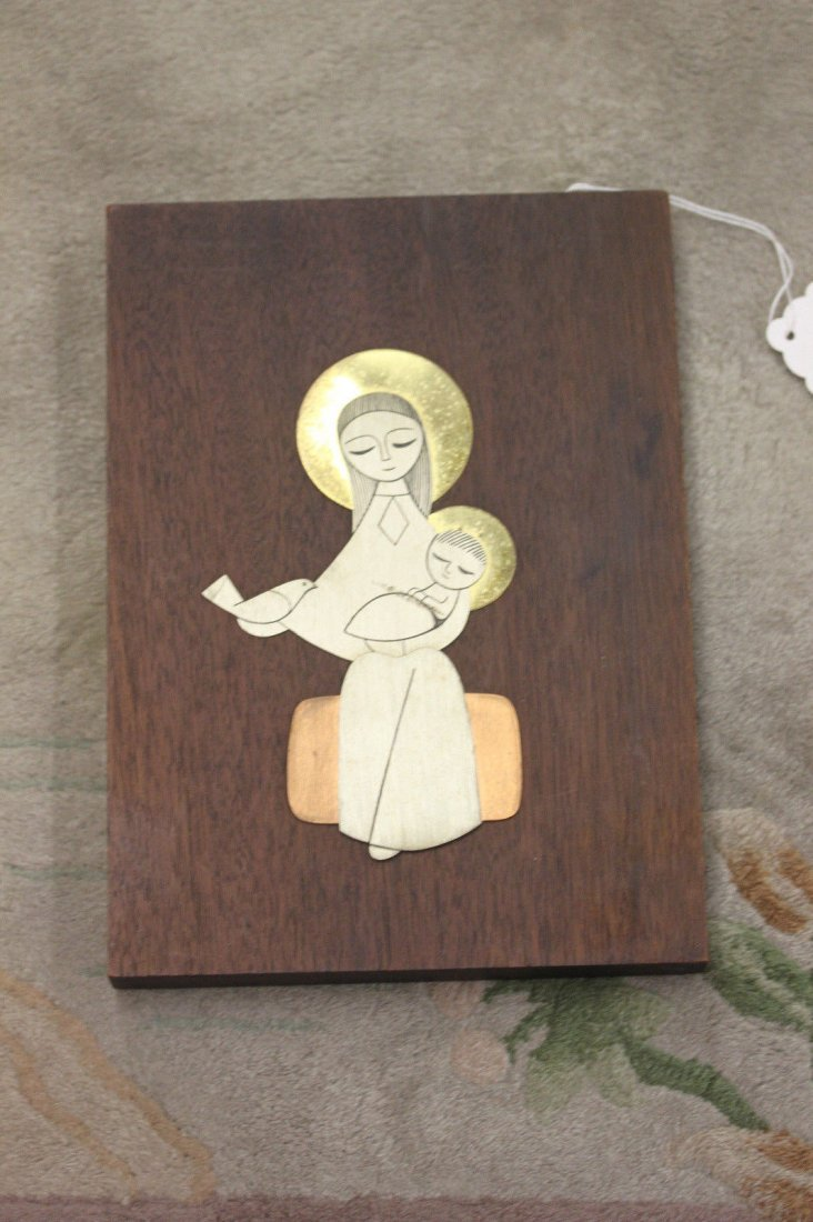 Madonna and Child Metal Plaque on Solid Wood