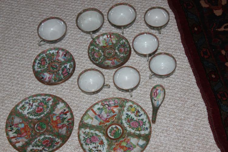 Lot of 19th / 20th Century Chinese Rose Medallion Cups/Saucer/Plates