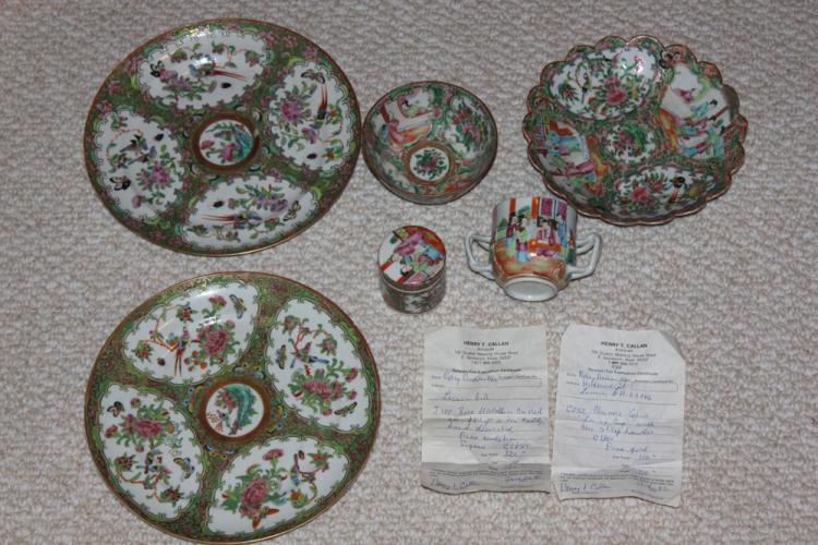 Lot of 6 19th Century Chinese Rose Medallian Articles