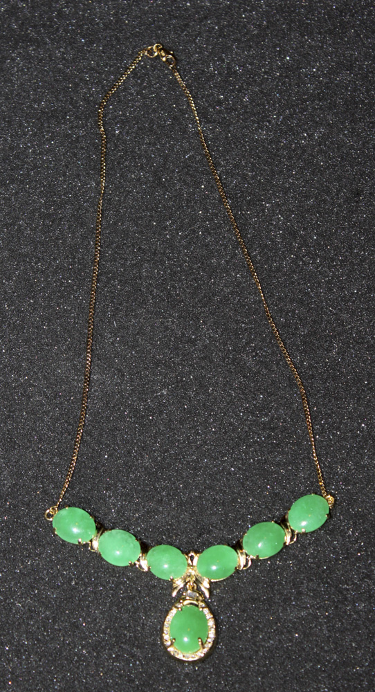 18K Gold and Jade with Necklace