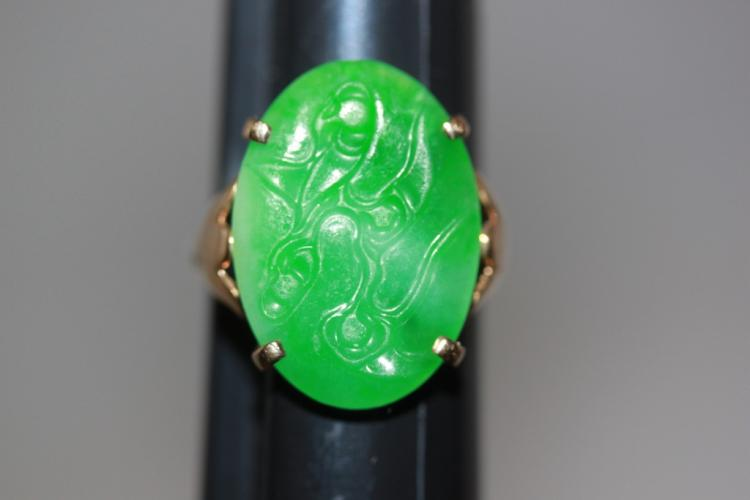 Antique Early to Mid- 20th Cent 14k Gold & Apple Green Jadeite Ring Sz 6