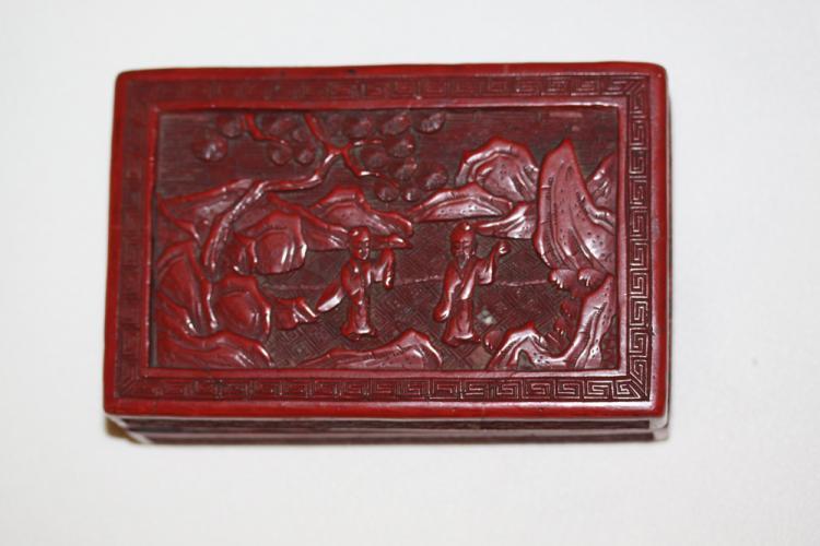 Antique 19th C Chinese Cinnabar Rectangular Box