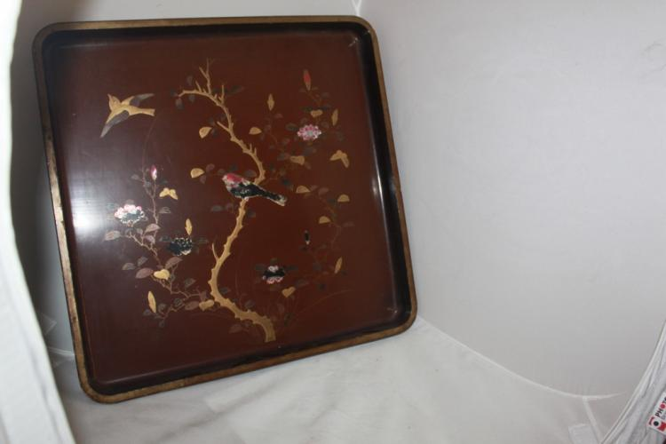 Antique Japanese Square Lacquer Tray
