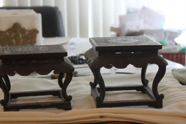 Pair of Chinese Cinnabar or Lacquer Stands