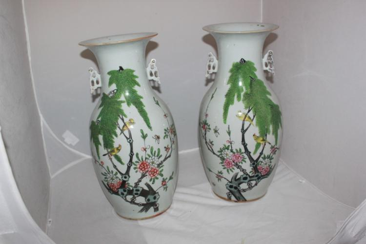 Pair of Antique Chinese Large Porcelain Vases