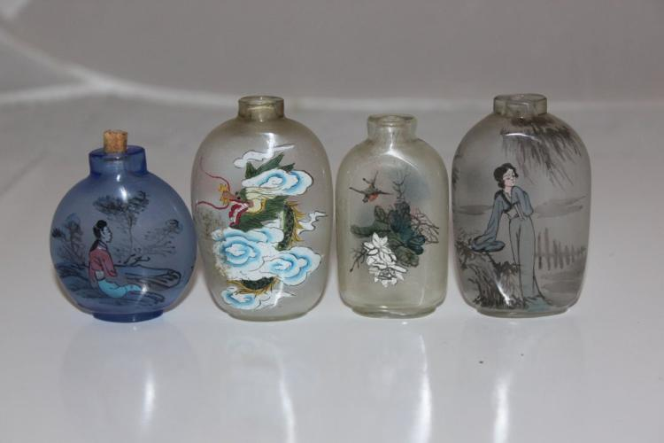 Lot of 4 Glass Snuff Bottles