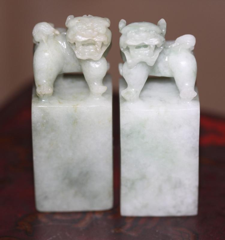 Pair of carved Foo Dog Jadeite Seals