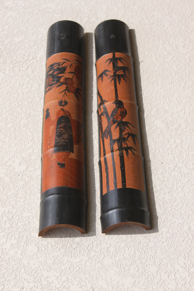 Pair of Asian Bamboo Carved Wall Hangers