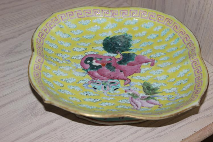 Antique Chinese Yellow Kylin Square Bowl