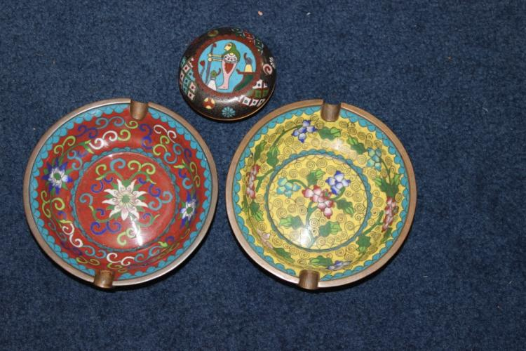 Lot of 3 Chinese Cloisonne Articles