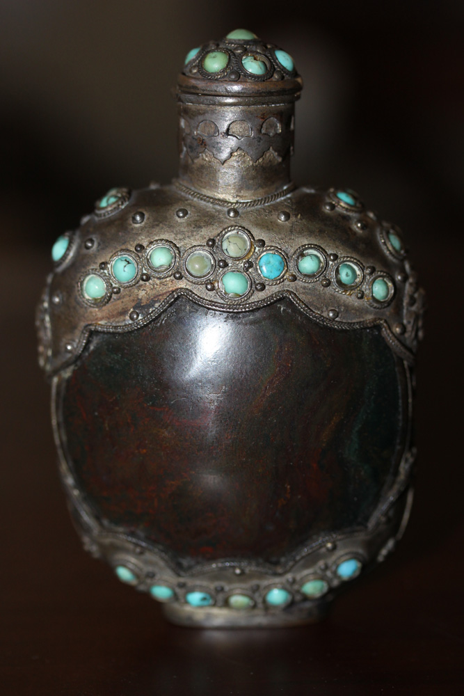 Antique / Vintage Chinese Silvered Snuff Bottle