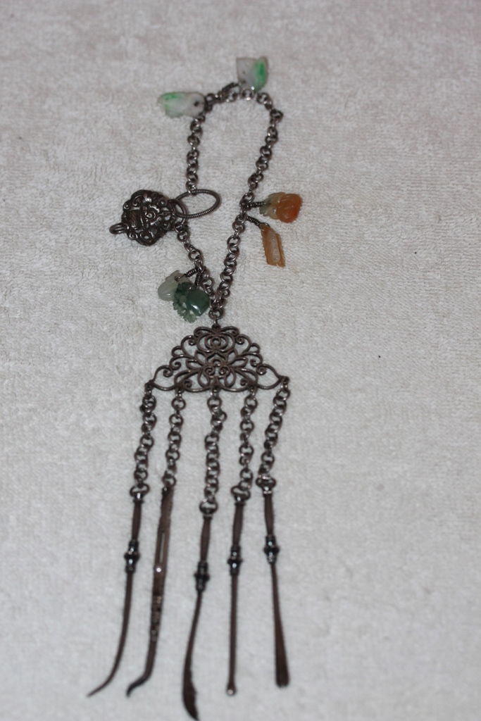Antique Chinese Jade & Sterling Silver Toothpick Necklace
