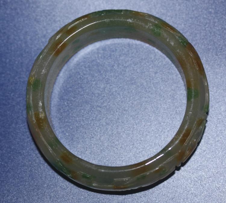 Carved Jade Bangle Bracelet