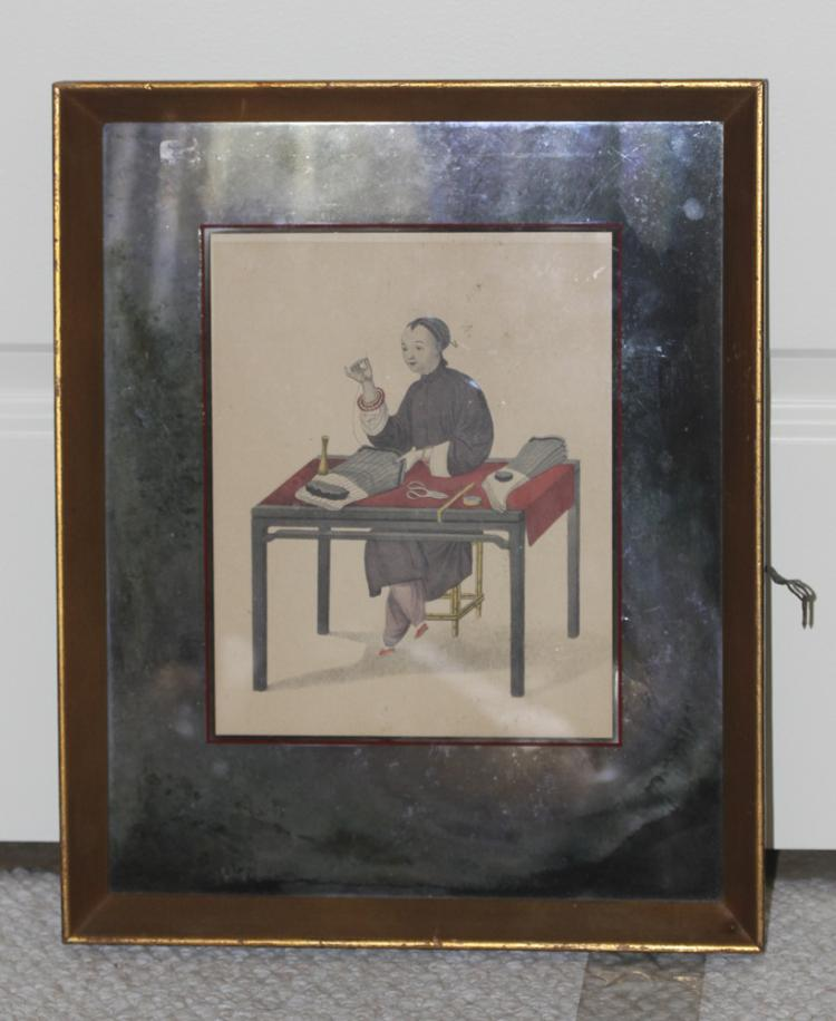 Antique Chinese 19th/20th C Engraving of Woman