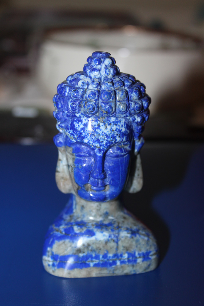 Carved Lapis Quan Yin Head