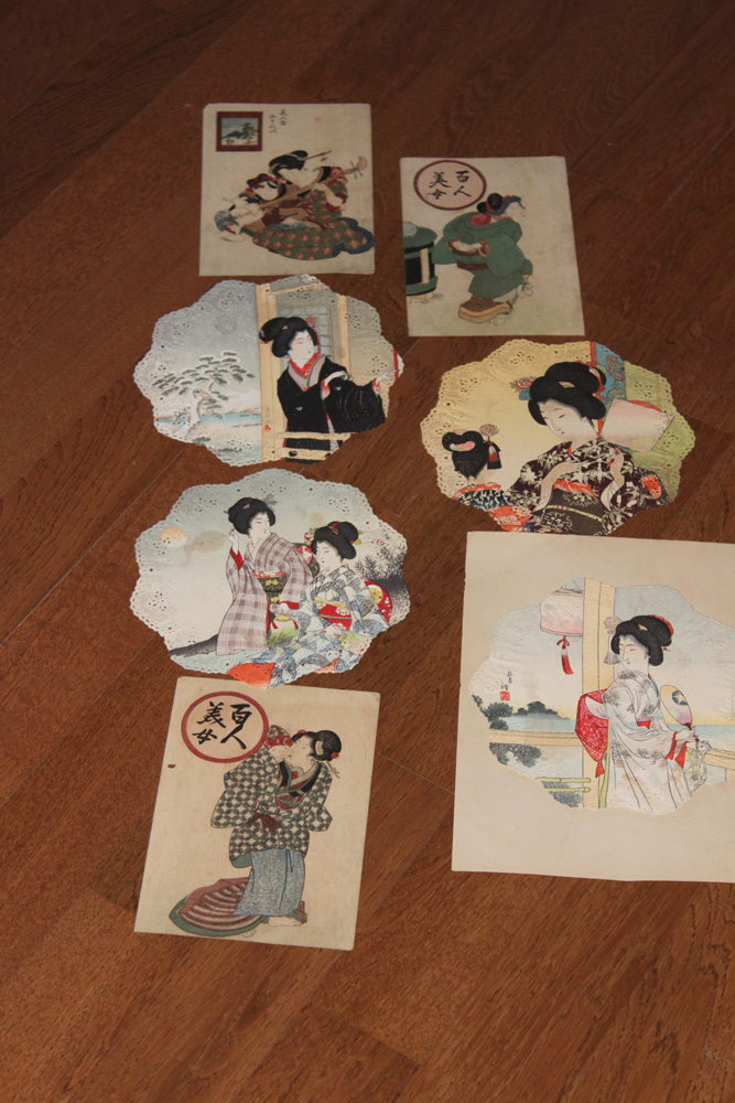 Antique Japanese Lot of 7 Woodblock Prints