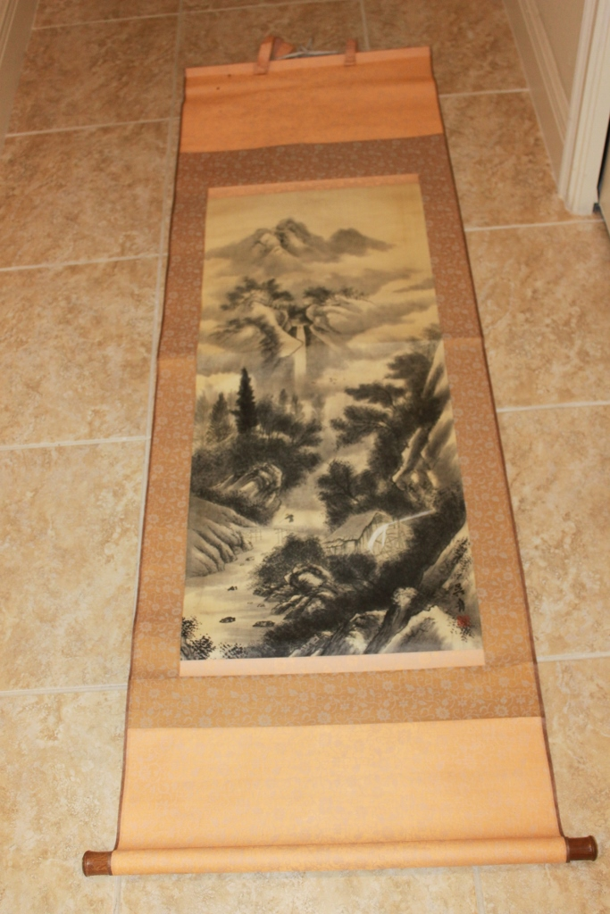 Antique / Vintage  Signed & Sealed Chinese Watercolor Painting Scroll