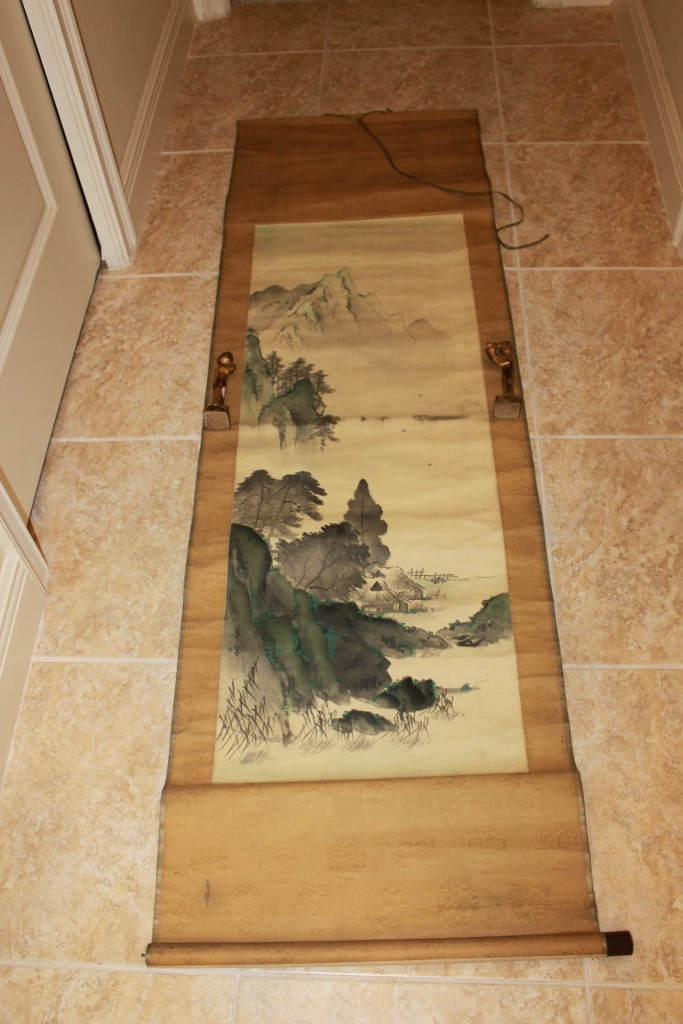 Antique / Vintage Signed & Sealed Chinese / Japanese / Asian Watercolor Painting Scroll