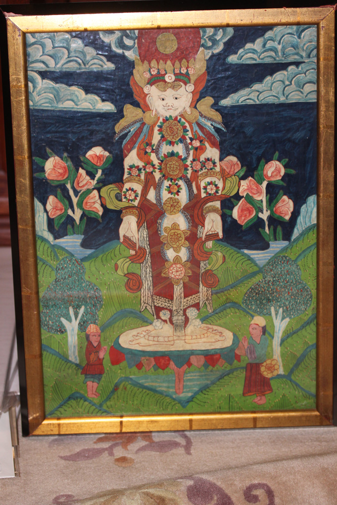 Antique Chinese Tibetan Oil on Canvas Painting