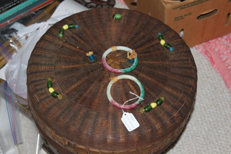 Large Antique Chinese Sewing Basket