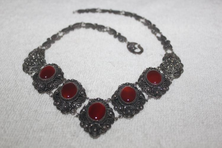 Antique Chinese  Filigree Sterling Silver & Carnelian Jade Necklace