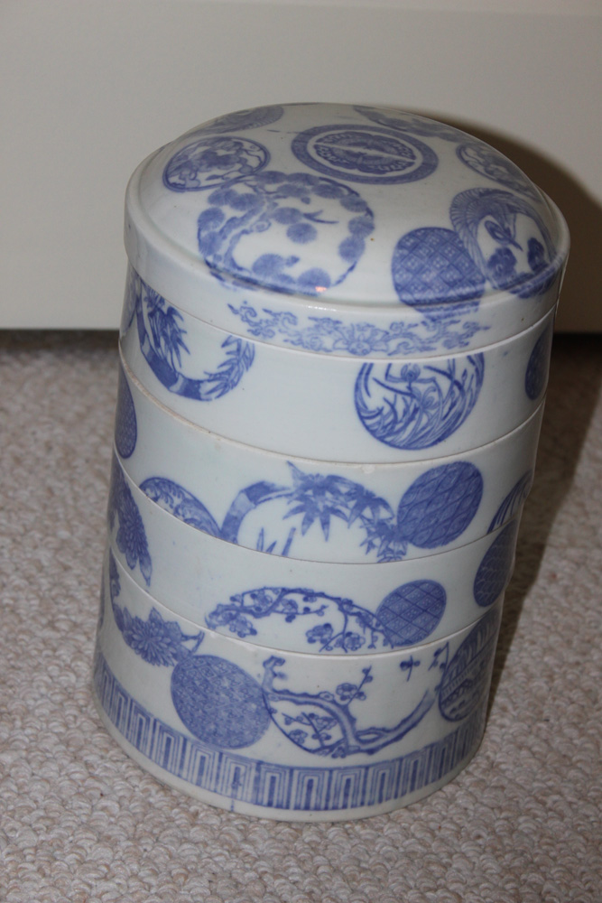 Antique Japanese Porcelain Stacking Food Container