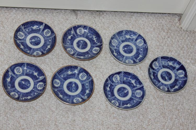 Lot of 7 Japanese Imari Blue and White Small Dishes