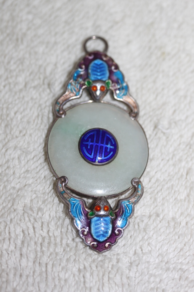 Antique Chinese Sterling Silver Enamel & White Jade Pendant