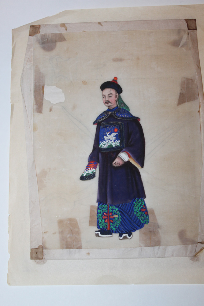 Lot of 2 Chinese 19th Century Pastel on Rice Paper