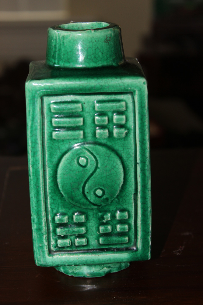 Chinese 19th / 20th C Thick Porcelain Green Vase