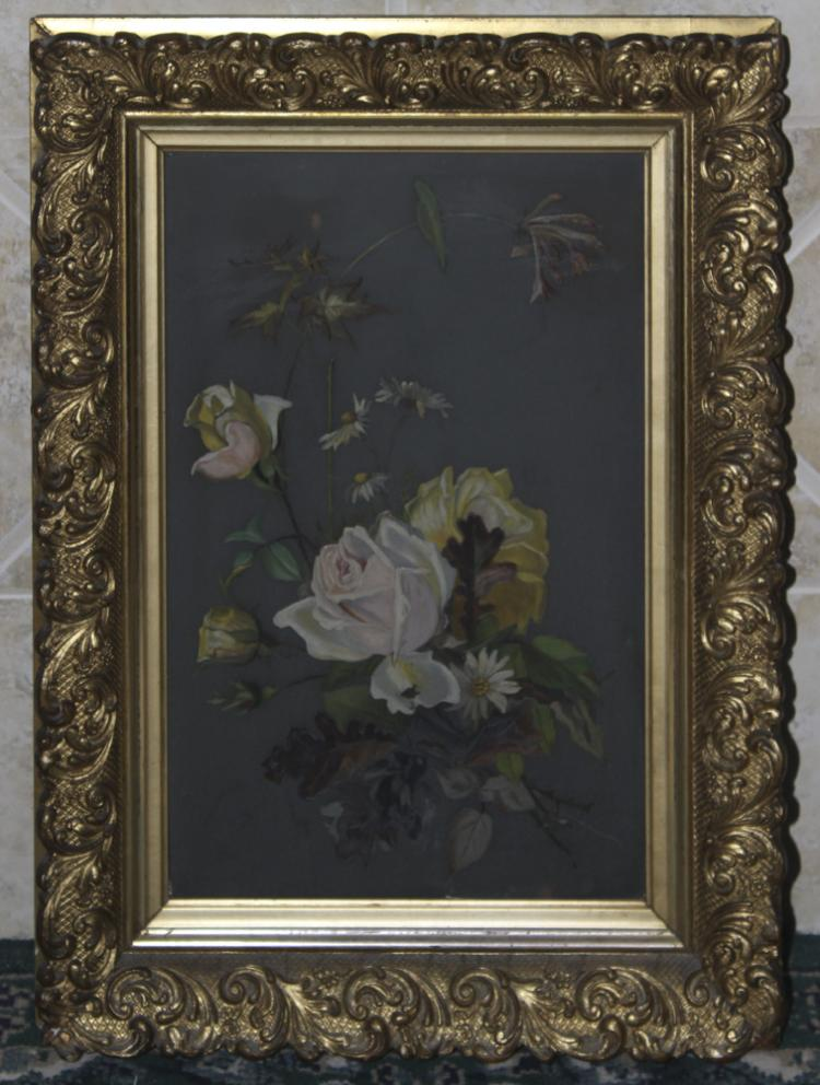 Antique Pastel on Glass Painting
