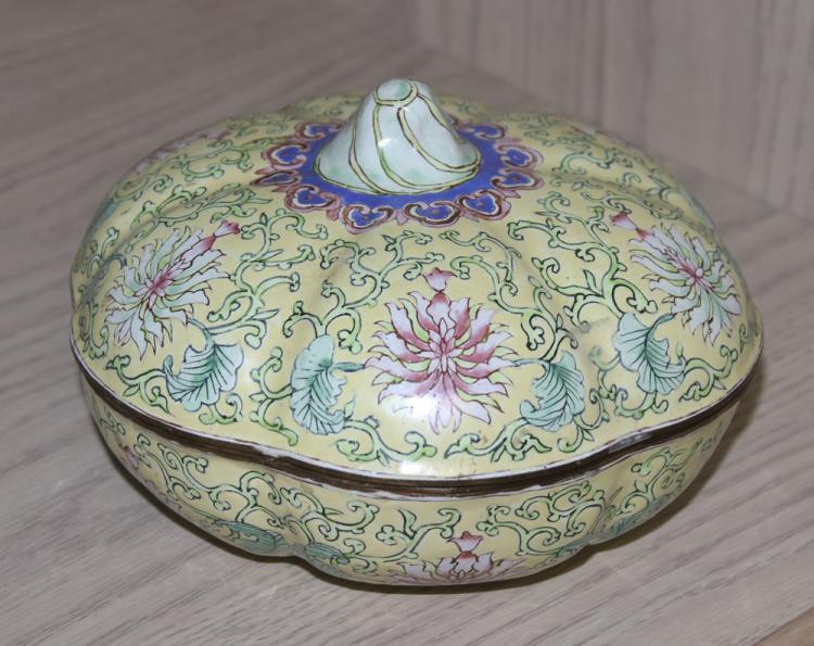 Chinese Enamel Bowl W/ Lid