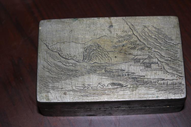 Antique Early 20th C Chinese Pewter Ink Cake