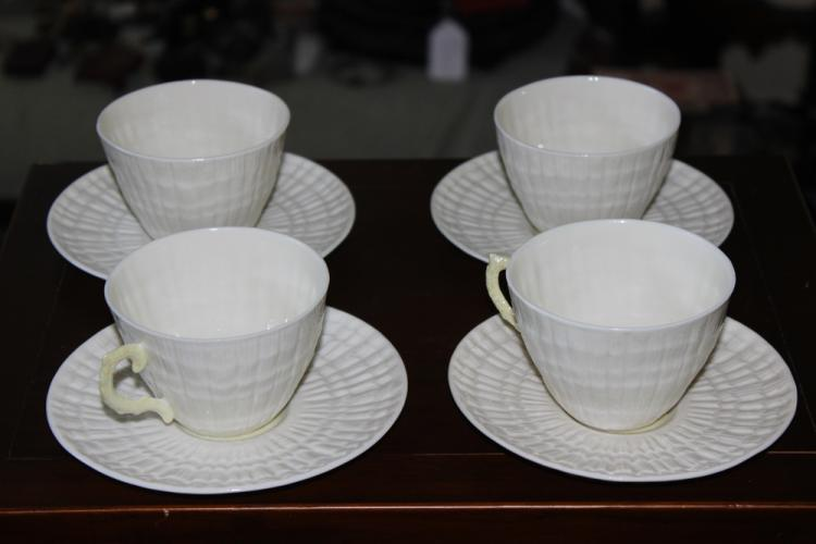 Set of 4 Antique Belleek Cup and Saucers