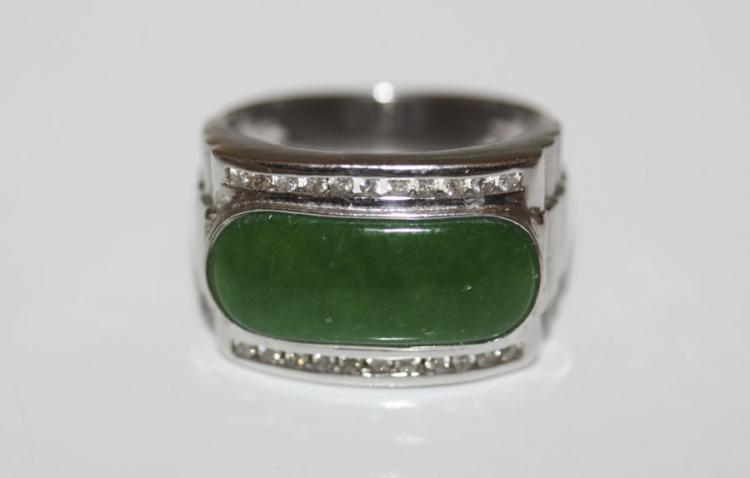 18K White Gold Imperial Jade and Diamond Ring
