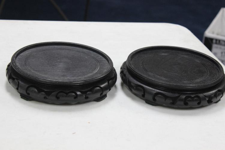 Pair of Carved Wood Stands