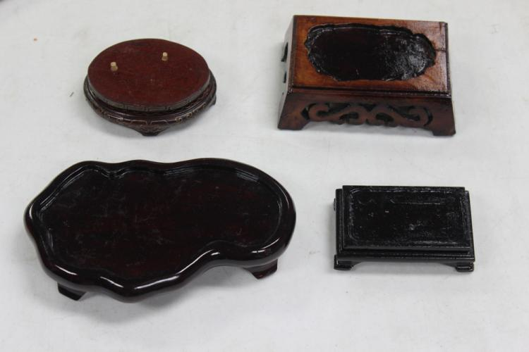 Lot of 4 Unusually Shaped Wood Stands